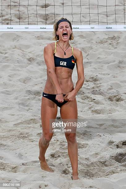 Laura Ludwig celebrates after beating Larissa Franca Maestrini and Talita Rocha of Brazil during the beach volleyball Women's Semifinal on Day 11 of...