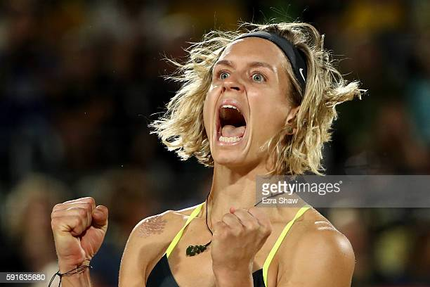 Laura Ludwig of Germany celebrates winning a point during the Beach Volleyball Women's Gold medal match against Agatha Bednarczuk Rippel of Brazil...