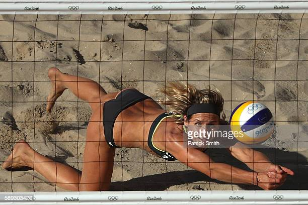 Laura Ludwig of Germany dives for the ball during a Women's Round of 16 match between Switzerland and Germany on Day 8 of the Rio 2016 Olympic Games...