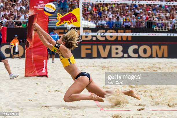 Laura Ludwig of Germany in action during Day 9 of the FIVB Beach Volleyball World Championships 2017 on August 5 2017 in Vienna Austria