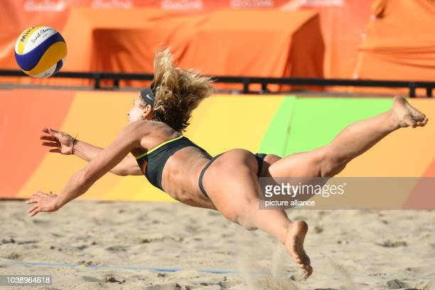 Laura Ludwig of Germany in action during the women's Round of 16 match Forrer/Verge-Depre of Switzerland against Ludwig/Walkenhorst of Germany at the...