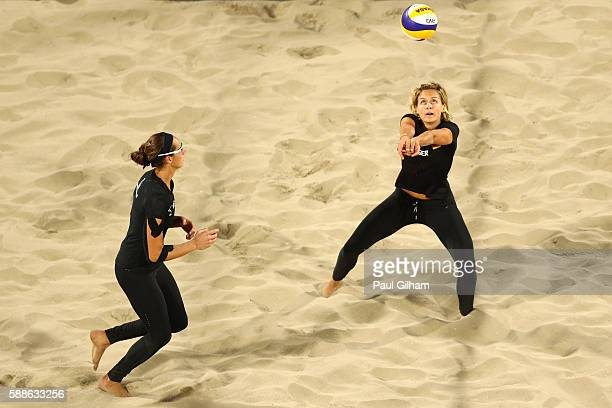 Laura Ludwig of Germany plays the ball alongside Kira Walkenhorst as they take on Marta Menegatti and Laura Giombini of Italy during the Women's...