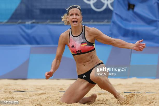 Laura Ludwig of Team Germany reacts after the play against Team United States during the Women's Quarterfinal beach volleyball on day eleven of the...