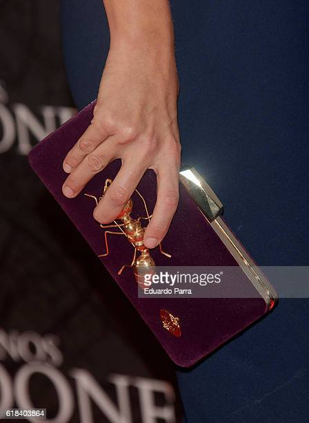 Laura Madrueno bag detail attends the 'Que Dios nos perdone' photocall at Capitol cinema on October 26 2016 in Madrid Spain