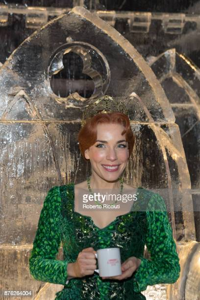 Laura Main performing as Fiona attends a photocall at Ice Adventures during 'Light Night' the event that celebrates the start of Christmastime in...