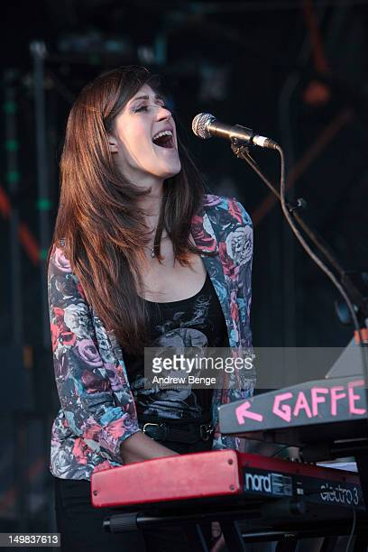 Laura Manuel of Reverend and the Makers performs on stage during Y Not Festival which takes place in the Peak District on August 4, 2012 in Matlock,...