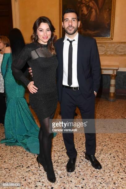 Laura Marafioti and Edoardo Leo attend a dinner for 'Damiani - Un Secolo Di Eccellenza' at Palazzo Reale on March 21, 2017 in Milan, Italy.
