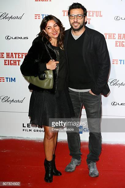 Laura Marafioti and Edoardo Leo walk the red carpet for 'The Hateful Eight' premiere on January 28, 2016 in Rome, Italy.