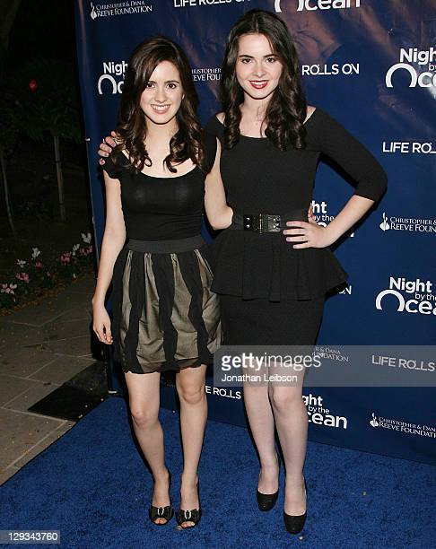 Laura Marano and Vanessa Marano attend the Life Rolls On Foundation's 8th Annual Night By The Ocean Gala at Ritz Carlton Hotel on October 15 2011 in...
