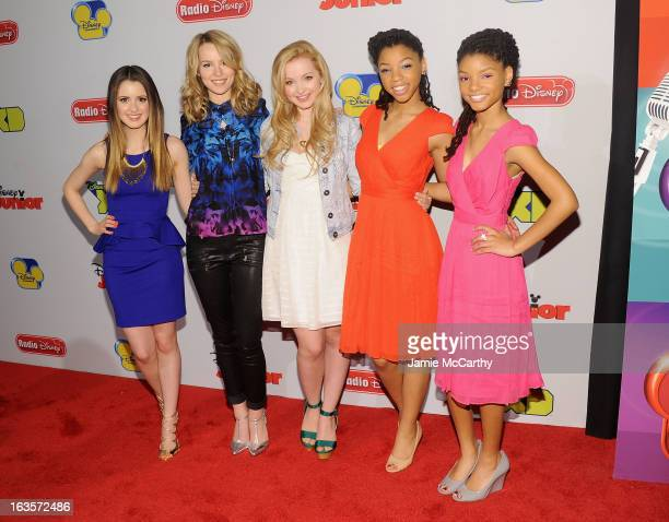 Laura Marano, Bridgit Mendler, Dove Cameron, Chloe Bailey and Halle Bailey attend the Disney Channel Kids Upfront 2013 at Hudson Theatre on March 12,...