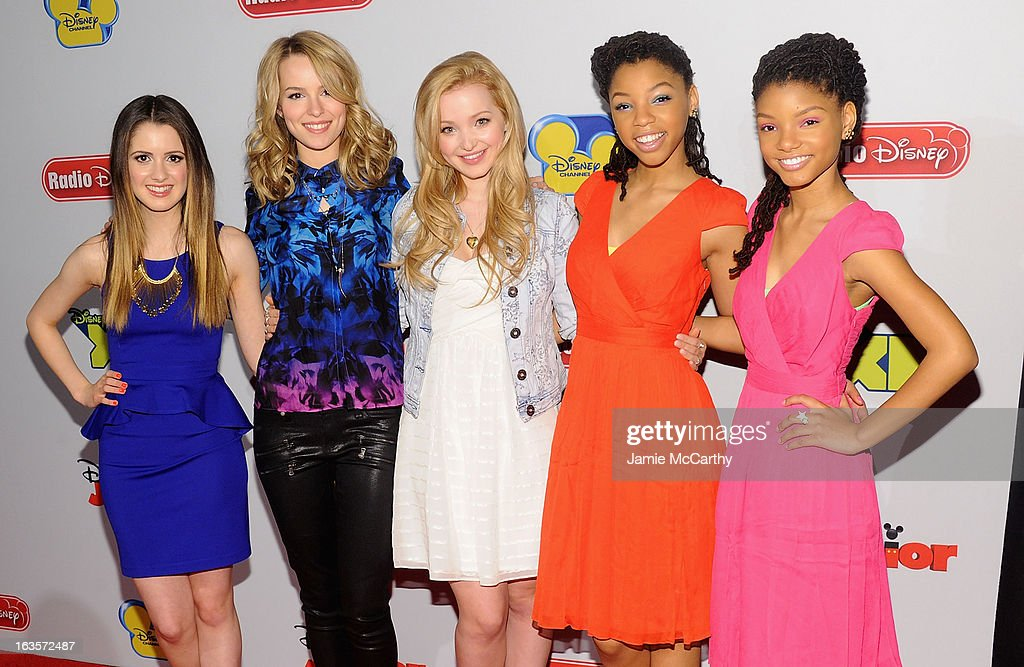 Laura Marano, Bridgit Mendler, Dove Cameron, Chloe Bailey and Halle Bailey attend the Disney Channel Kids Upfront 2013 at Hudson Theatre on March 12, 2013 in New York City.