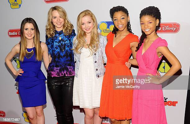 Laura Marano Bridgit Mendler Dove Cameron Chloe Bailey and Halle Bailey attend the Disney Channel Kids Upfront 2013 at Hudson Theatre on March 12...