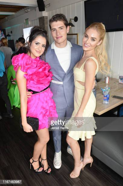 Laura Marano Gregg Sulkin and Michelle Randolph attend Cold Stone Creamery Backstage at 2019 Teen Choice Awards on August 11 2019 in Hermosa Beach...