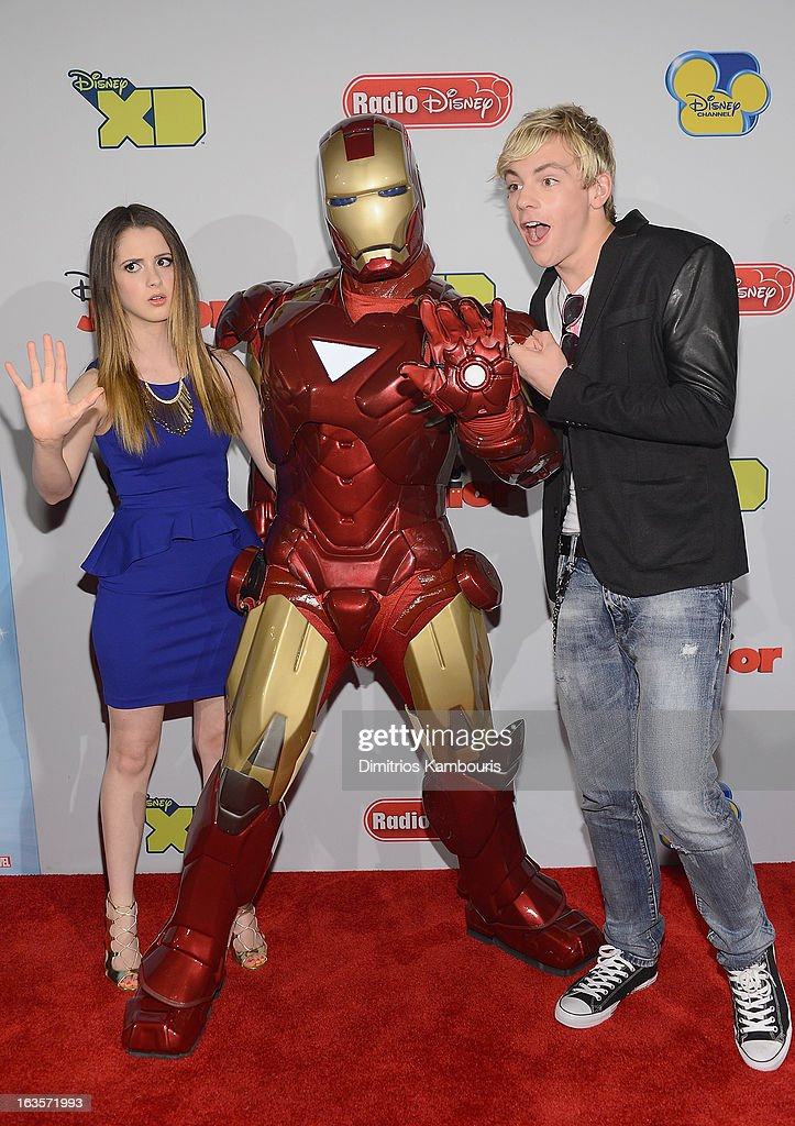 Laura Marano, Iron Man and Ross Lynch attend the Disney Channel Kids Upfront 2013 at Hudson Theatre on March 12, 2013 in New York City.