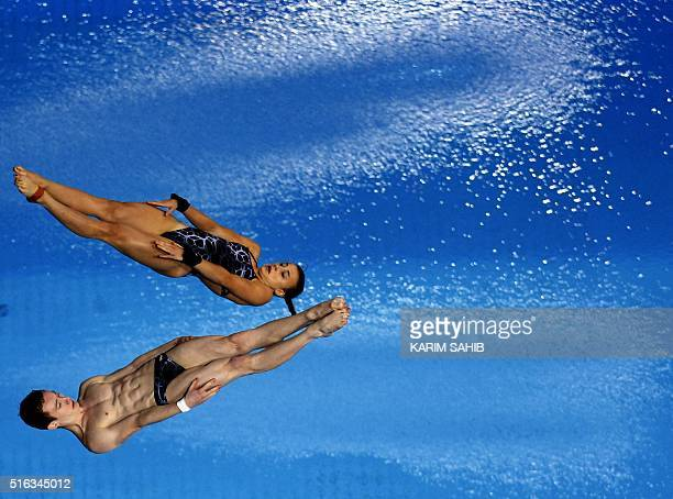 laura Marino and Benjamin Auffret of France compete in the Mixed 10m Synchro Platform during day two of the 2016 FINA/NVA Diving World Series at the...