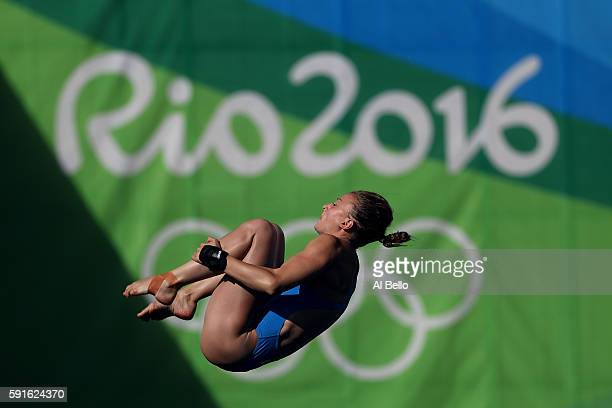 Laura Marino of France competes during the Women's 10m Platform Diving preliminaries on Day 12 of the Rio 2016 Olympic Games at Maria Lenk Aquatics...