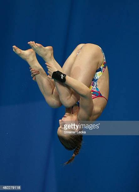 Laura Marino of France competes in the 3m Springboard/10m Platform Team Diving Final on day five of the 16th FINA World Championships at the Aquatics...
