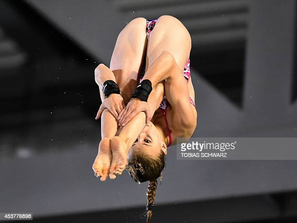 Laura Marino of France competes in the diving Team event at the 32nd LEN European swimming championships on August 18 2014 in Berlin Team France...