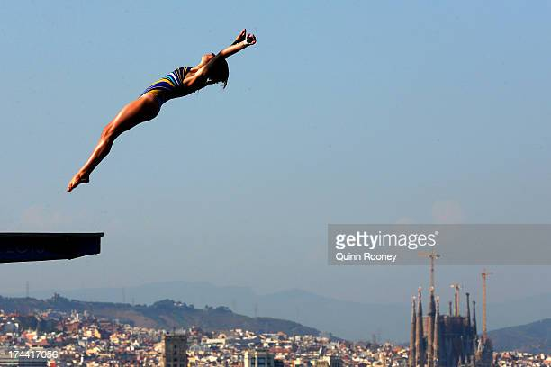 Laura Marino of France competes in the Women's 10m Platform Diving final on day six of the 15th FINA World Championships at Piscina Municipal de...