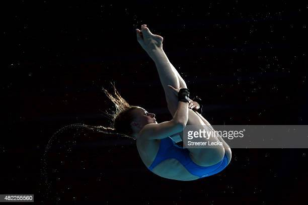 Laura Marino of France competes in the Women's 10m Platform Diving Semifinals on day five of the 16th FINA World Championships at the Aquatics Palace...