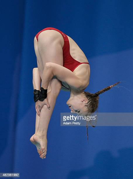 Laura Marino of France competes in the Women's 10m Platform Diving Final on day six of the 16th FINA World Championships at the Aquatics Palace on...