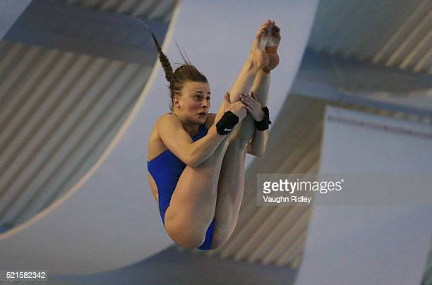 Laura Marino of France competes in the Women's 10m Semifinals during Day Two of the FINA/NVC Diving World Series 2016 at the Windsor International...