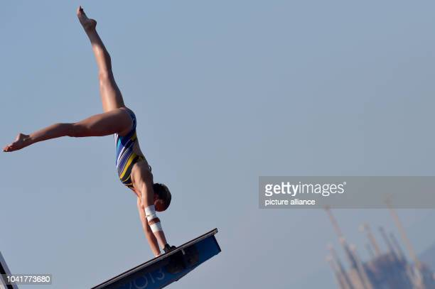 Laura Marino of France in action women's 10m Platform diving final of the 15th FINA Swimming World Championships at Montjuic Municipal Pool in...