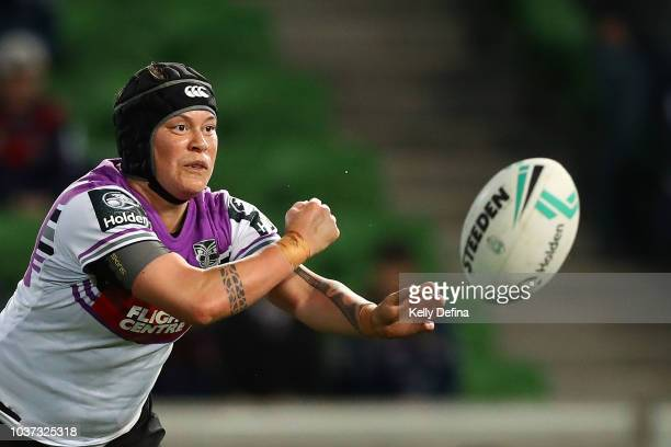 Laura Mariu of the Warriors passes the ball during the round three NRLW match between the Brisbane Broncos and the New Zealand Warriors at AAMI Park...