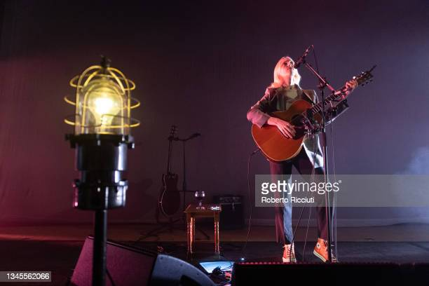 Laura Marling performs on stage at The Queen's Hall on October 08, 2021 in Edinburgh, Scotland.