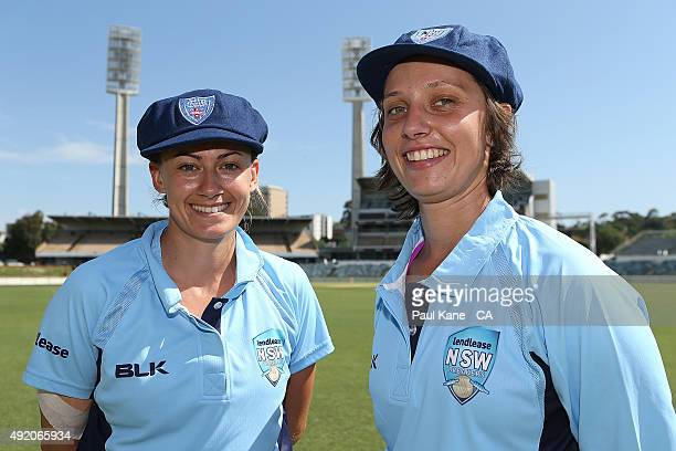 Laura Marsh and Ashleigh Gardner of New South Wales pose after bing presented with their caps during the round one WNCL match between New South Wales...