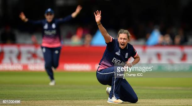 Laura Marsh of England appeals during the ICC Women's World Cup 2017 Final between England and India at Lord's Cricket Ground on July 23 2017 in...