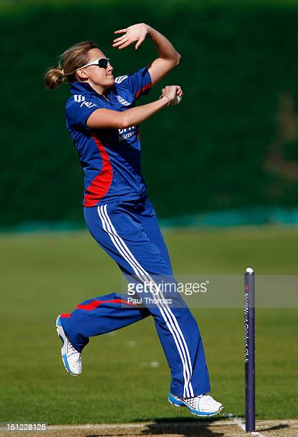 Laura Marsh of England bowls during the first NatWest Women's International T20 cricket match between England and Pakistan at Loughborough University...