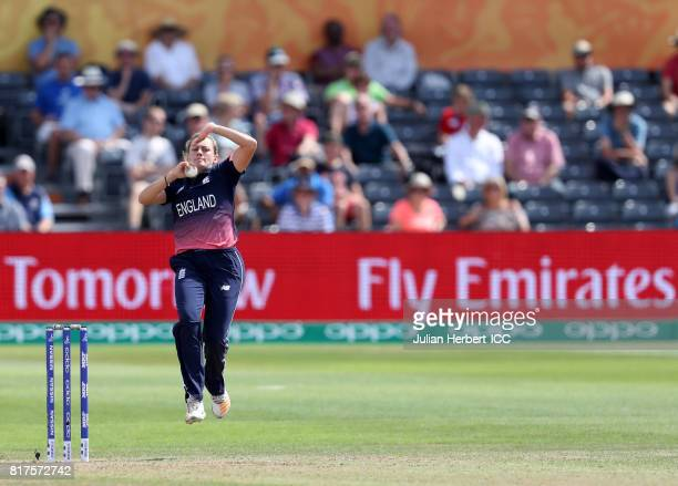 Laura Marsh of England bowls during The ICC Women's World Cup 2017 SemiFinal between England and South Africa at The County Ground on July 18 2017 in...