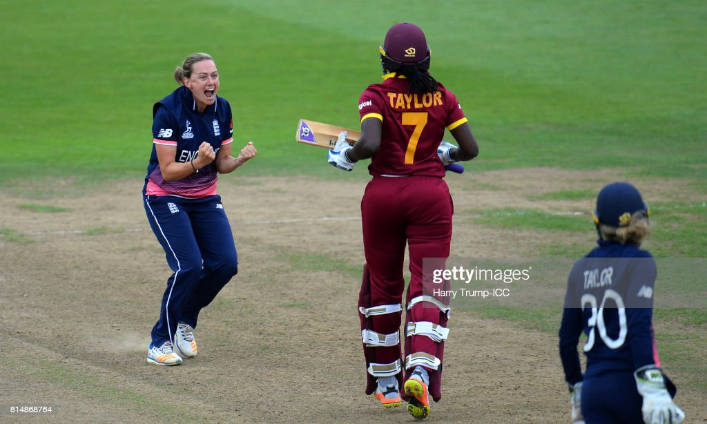 Laura Marsh of England celebrates after dismissing Stafanie Taylor of West Indies during the ICC Women's World Cup 2017 match between England and the West Indies at The County Ground on July 15, 2017 in Bristol, England.