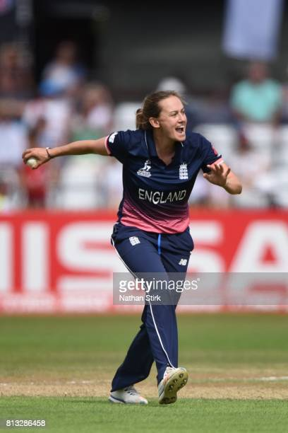 Laura Marsh of England celebrates as she gets Amy Satterthwaite of New Zealand out during the ICC Women's World Cup 2017 between England and New...