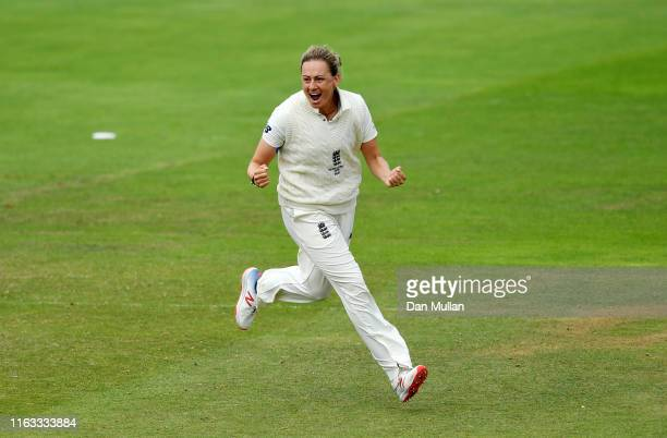 Laura Marsh of England celebrates taking the wicket of Alyssa Healy of Australia during day four of the Kia Women's Test Match between England Women...