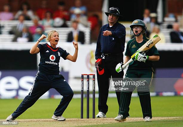 Laura Marsh of England celebrates taking the wicket of Shelley Nitschke of Australia for LBW during the fifth One Day International match between...