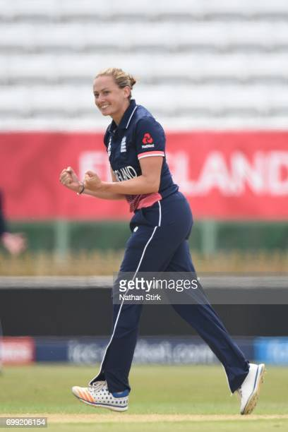 Laura Marsh of England Women's celebrates after getting Sophie Devine of New Zealand out during the ICC women's world cup warm up match between...