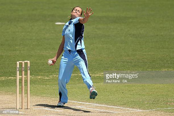 Laura Marsh of New South Wales bowls during the round one WNCL match between New South Wales and South Australia at WACA on October 10 2015 in Perth...