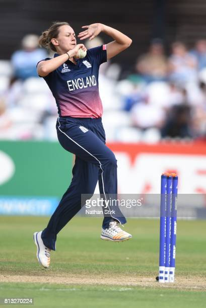 Laura Marsh of New Zealand runs in to bowl during the ICC Women's World Cup 2017 between England and New Zealand at The 3aaa County Ground on July 12...
