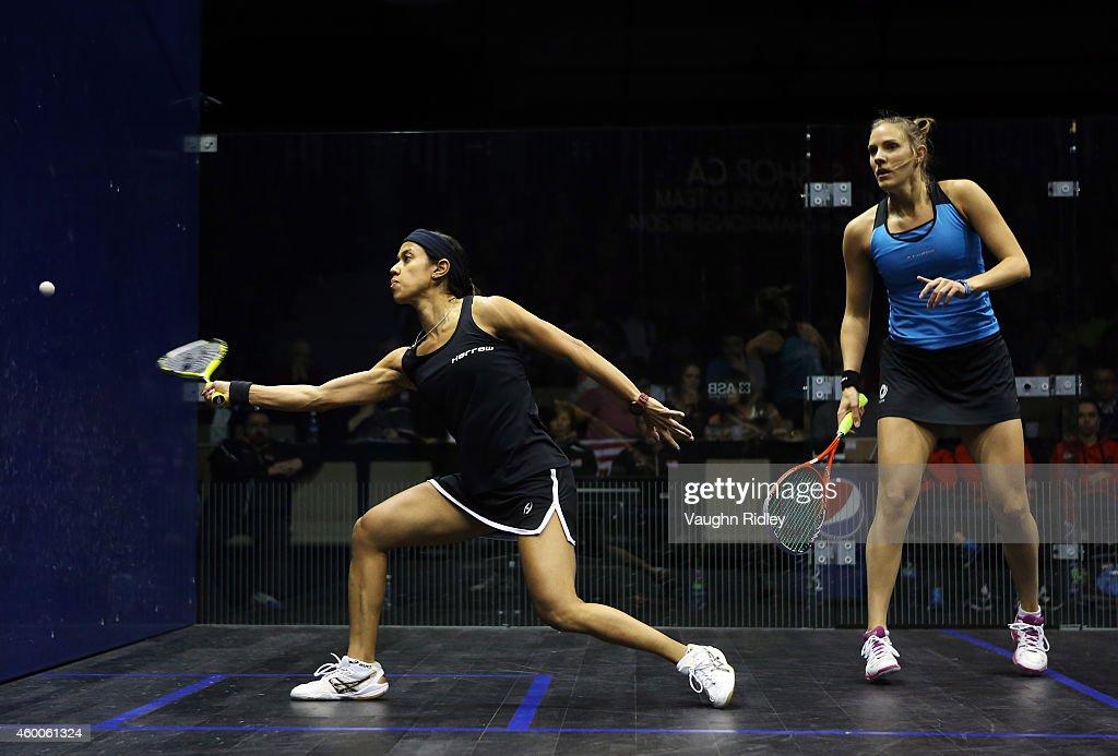 Laura Massaro of England competes against Nicol David of