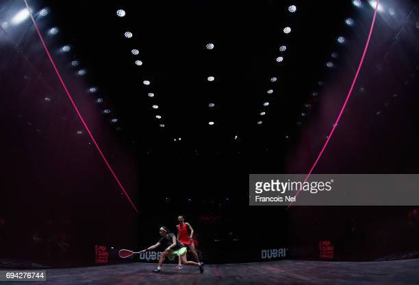 Laura Massaro of England competes against Nouran Gohar of Egypt during the women's semi final match on day four of the PSA Dubai World Series Finals...