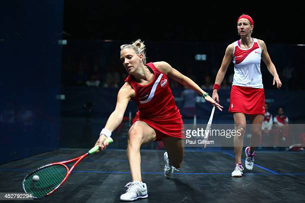 Laura Massaro of England plays a forehand during the Women's Singles semifinal match between Alison Waters of England and Laura Massaro of England at...