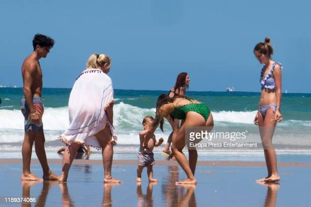 Laura Matamoros Daniel Illescas and her family are seen at the beach on June 20 2019 in Cadiz on June 20 2019 in Cadiz Spain