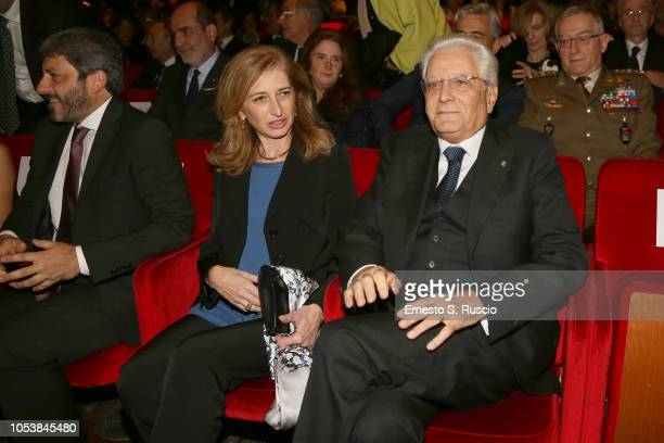 Laura Mattarella and President of Italy Sergio Mattarella attend the La Grande Guerra screening during the 13th Rome Film Fest at Auditorium Parco...