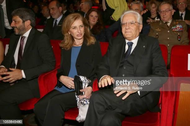 """Laura Mattarella and President of Italy Sergio Mattarella attend the """"La Grande Guerra"""" screening during the 13th Rome Film Fest at Auditorium Parco..."""