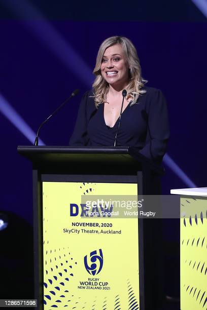 Laura McGoldrick speaks during the Rugby World Cup 2021 Draw event at the SKYCITY Theatre on November 20, 2020 in Auckland, New Zealand.