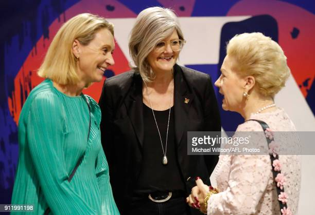 Laura McLachlan Sam Mostyn and Susan Alberti chat during the 2018 AFLW Season Launch on January 30 2018 in Melbourne Australia