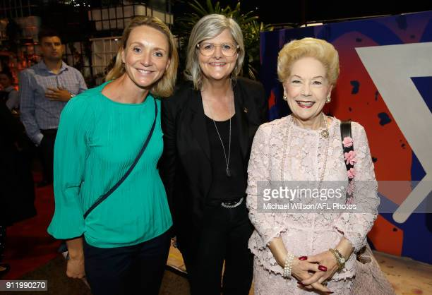 Laura McLachlan Sam Mostyn and Susan Alberti pose for a photograph during the 2018 AFLW Season Launch on January 30 2018 in Melbourne Australia