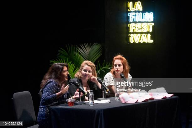 Laura Menino Lindsay Stidham and Angela Gulner attend the 2018 LA Film Festival 'Welcome to the Clambake' at Wallis Annenberg Center for the...